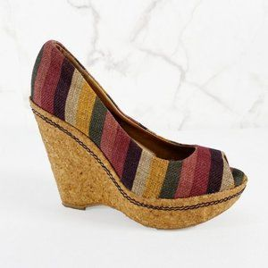 Splendid Striped Cork Wrapped Wedges with Peep Toe